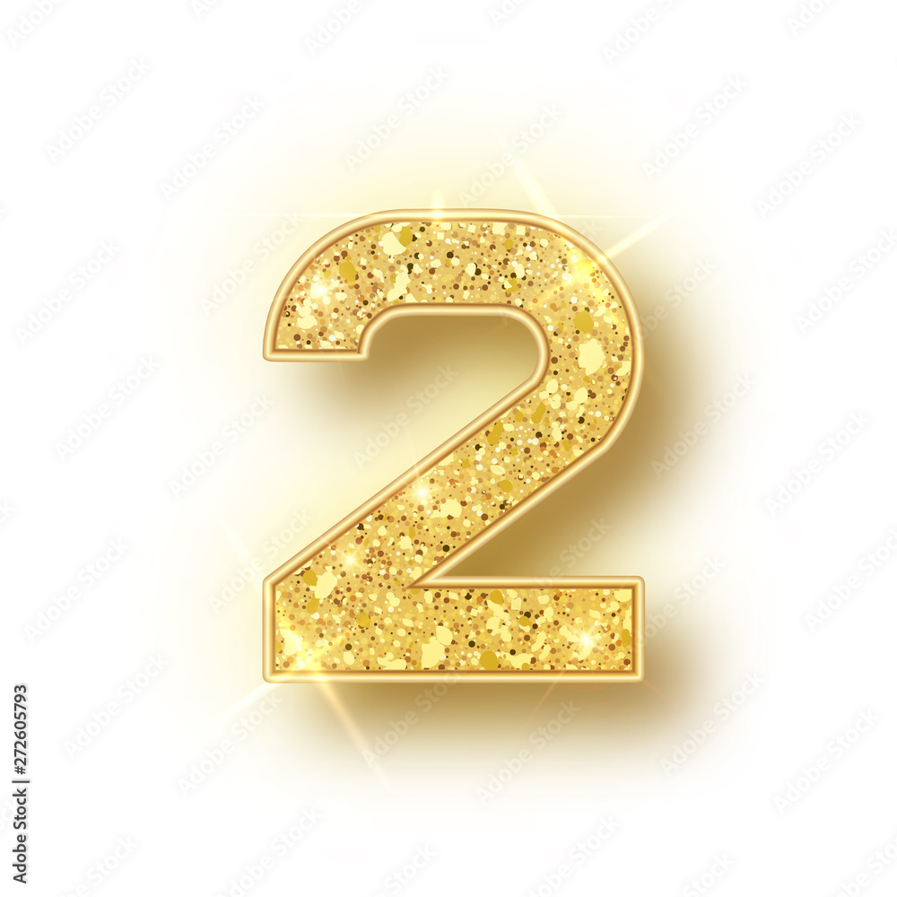 Fototapeta Gold glitter alphabet numbers 2 with shadow. Vector realistick shining golden font number two of sparkles on white background. For decoration of cute wedding, anniversary, party, label, headline