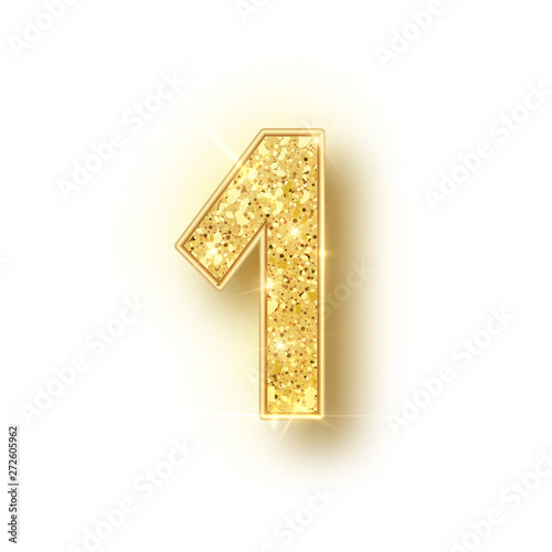 Gold glitter alphabet numbers 1 with shadow. Vector realistick shining golden font number one of sparkles on white background. For decoration of cute wedding, anniversary, party, label, headline