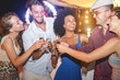 canvas print picture - Happy friends cheering and drinking champagne rosè at beach party outdoor - Young people having fun at weekend summer night - Youth lifestyle and nightlife concept - Main focus on hands glasses