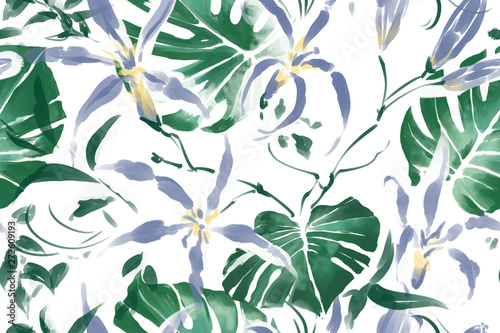 Floral seamless pattern with tropical leaves and flowers - 272609193