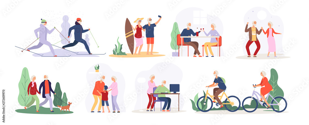 Fototapeta Elderly people. Senior grandfather grandmother couple sport tourist granny elderly people walking running cycling dancing vector set. Active lifestyle cycling and running illustration
