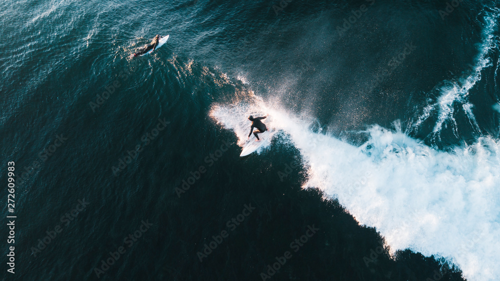 Fototapeta Aerial View of Waves and Surfers and Beach Landscape of Bells Beach Along the Great Ocean Road, Australia