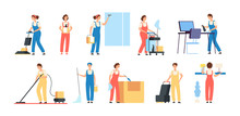 Cleaner Persons. Cleaning Service Workers Male Female Cleaners In Uniform Vacuuming Housemaids Household Equipment Vector Characters. Illustration Of Clean Staff With Mop And Tools, Character Cleaner