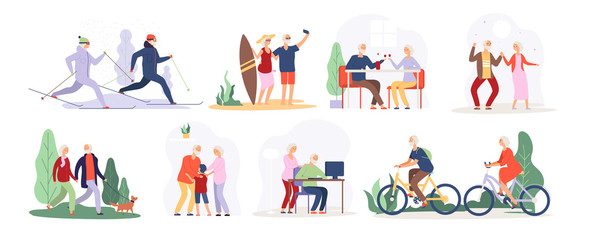 Elderly people. Senior grandfather grandmother couple sport tourist granny elderly people walking running cycling dancing vector set. Active lifestyle cycling and running illustration