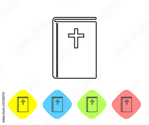Grey Holy bible book line icon isolated on white background. Set icon in color rhombus buttons. Vector Illustration