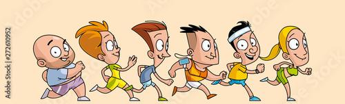 Group of cartoon runners