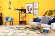 Leinwanddruck Bild - Stylish interior of living room near color wall