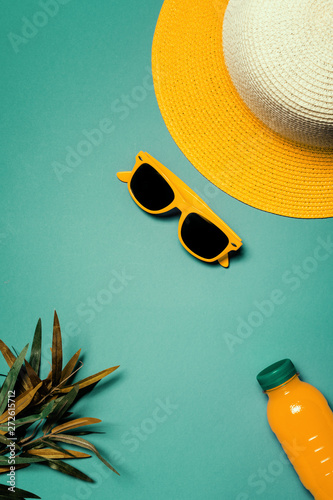 Canvas Prints Countryside Straw hat and sunglasses in summertime holiday vacation concept