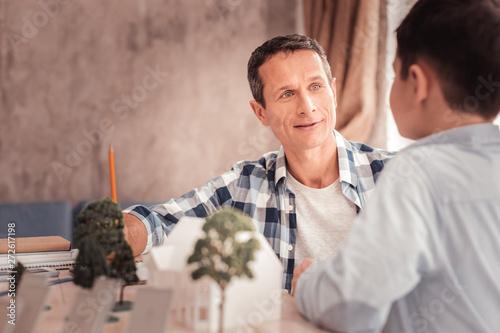 Handsome stylish man talking to his nephew Tapéta, Fotótapéta