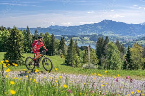 Foto auf AluDibond Pistazie senior woman riding her electric mountain bike in springtimeon the mountains above the Alpsee near Immenstadt, Allgau,Bavaria, Germany