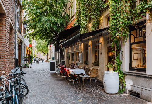 canvas print motiv - ekaterina_belova : Old street of the historic city center of Antwerpen (Antwerp), Belgium. Cozy cityscape of Antwerp. Architecture and landmark of Antwerpen