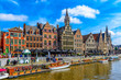 canvas print picture - View of Graslei quay and Leie river in the historic city center in Ghent (Gent), Belgium. Architecture and landmark of Ghent. Cityscape of Ghent.