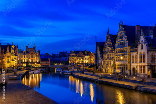 canvas print motiv - ekaterina_belova : View of Graslei, Korenlei quays and Leie river in the historic city center in Ghent (Gent), Belgium. Architecture and landmark of Ghent. Night cityscape of Ghent.