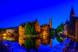 Leinwanddruck Bild - Classic view of the historic city center of Bruges (Brugge), West Flanders province, Belgium. Night cityscape of Bruges.