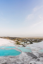 Landscape Of Pamukkale Natural Travertine Pools And Terraces