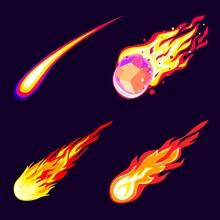 Meteorite Icons Set. Cartoon S...