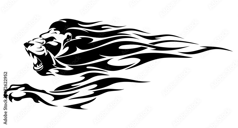 Fototapeta Lion, Abstract Flame Mane and Front Leg