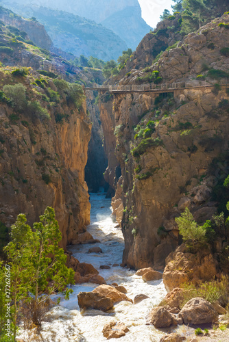 View of El Caminito del Rey tourist attraction Malaga, Spain. Canvas Print
