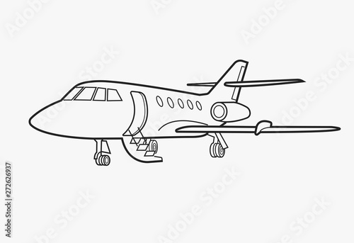 Fotomural Private jet vector icon. Business jet illustration