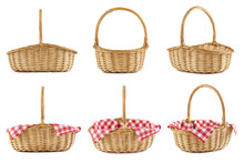 Collage Of Empty Wicker Picnic Baskets. Isolated.