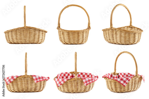 Pinturas sobre lienzo  Collage of empty wicker picnic baskets. Isolated.