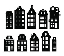Set Of Laser Cut Amsterdam Style Houses. Silhouette Of Row Typical Dutch View At Netherlands. Stylized Facades Of Old Buildings. Wood Carving Vector Template. Background For Banner, Card. Wood Carving
