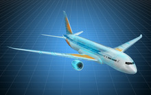 Visualization 3d Cad Model Of Airplane, Blueprint. 3D Rendering