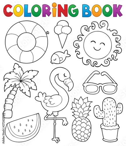 Poster Enfants Coloring book summer theme collection 1