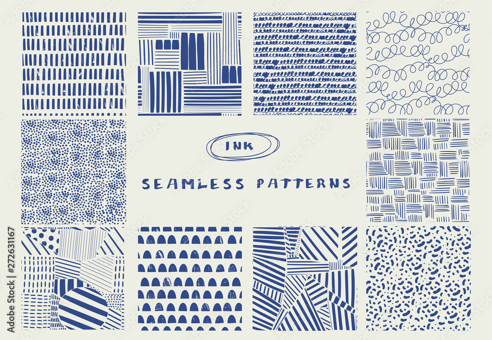 Fototapeta Various lines and shapes. Set of ten blue abstract seamless patterns. Ink drawing style. Contemporary hand drawn modern trendy vector illustrations. Every pattern is isolated