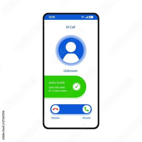 ID call smartphone interface vector template Fototapeta