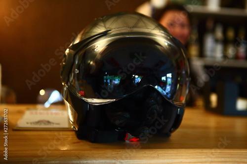 Aluminium Prints Scooter helmet on the bar