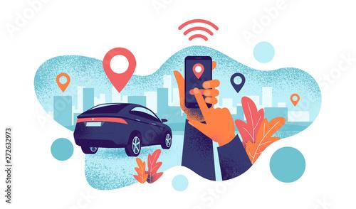 Fotografie, Obraz  Autonomous wireless remote connected car sharing service controlled via smartphone app