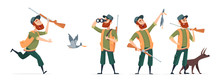 Cartoon Hunters. Vector Hunter With Dog, Guns, Binoculars, Duck Isolated On White Background. Hunter Run To Duck, Cartoon Bird And Shotgun Illustration