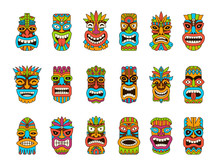 Tiki Masks. Tribal Hawaii Totem African Traditional Wooden Symbols Vector Colored Mask Illustrations. Tiki Totem, Hawaii Mask Exotic, African Face Wooden Sculpture