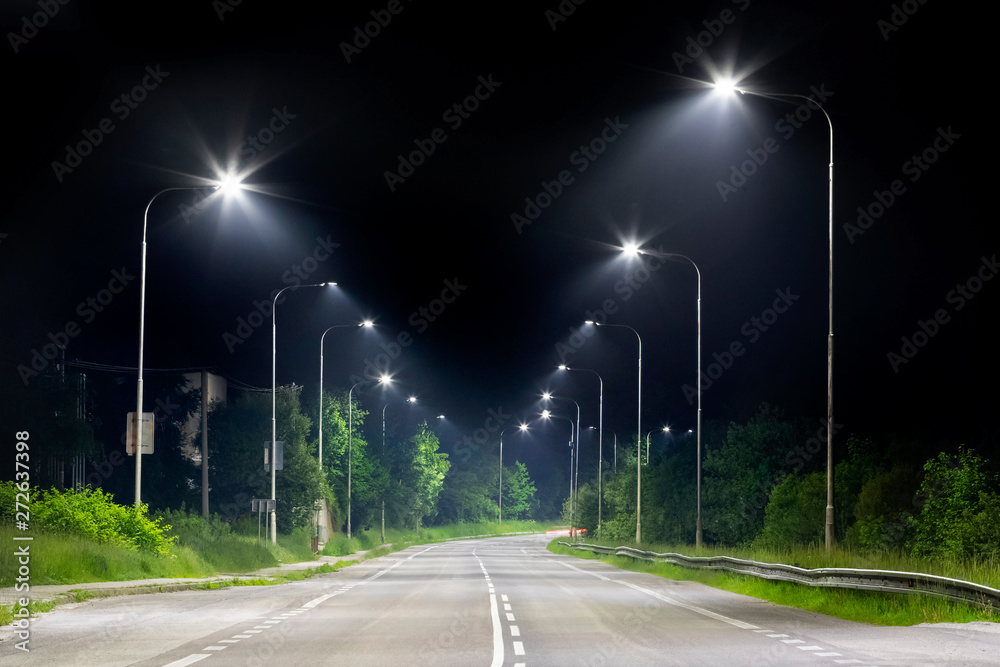 Fototapety, obrazy: night street with modern led street lights in small city