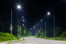 Night Street With Modern Led Street Lights In Small City