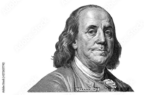 In de dag Macrofotografie Benjamin Franklin cut on new 100 dollars banknote isolated on white background
