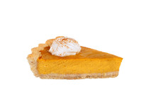Slice Of Pumpkin Pie Isolated On White Background
