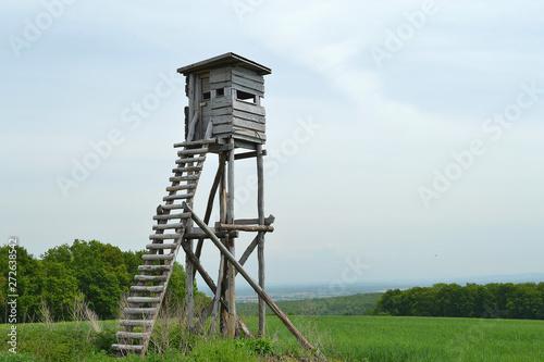 mirador, tour de guet en bois pour chasseurs, structure en bois, Alsace, France Fotobehang