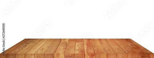 Obraz na plátně  Empty brown wood floor object on a white background