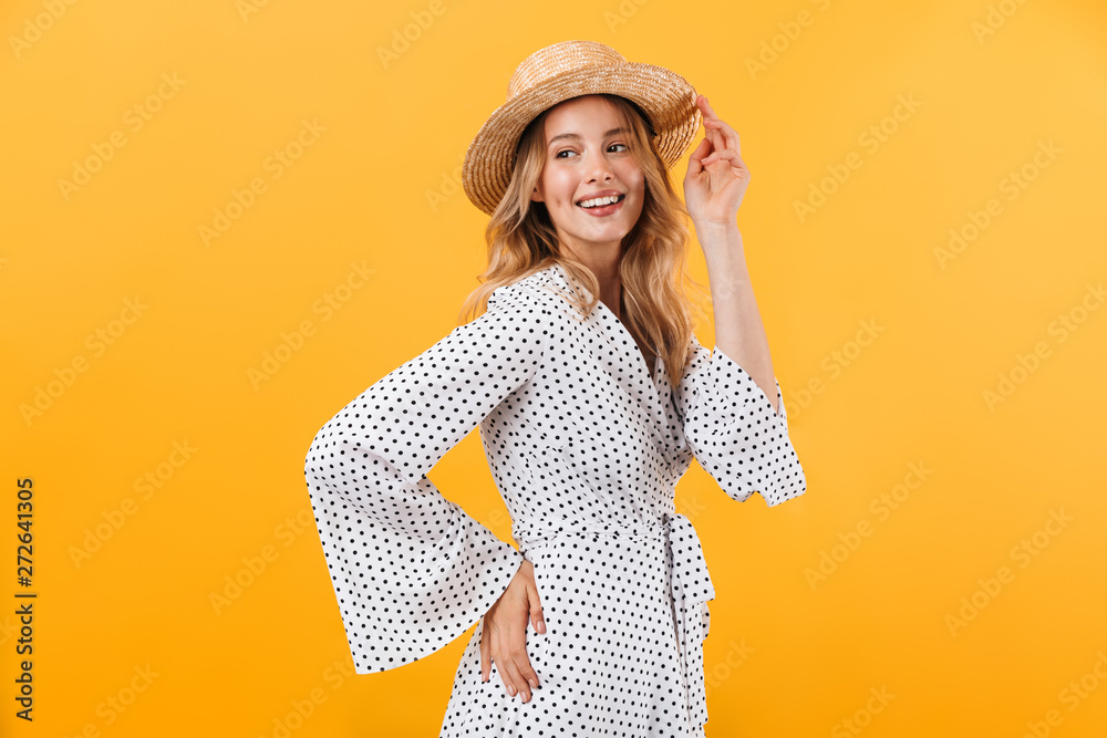 Fototapety, obrazy: Beautiful young blonde woman wearing summer dress