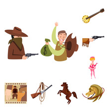 Vector Design Of Wild And West Icon. Set Of Wild And American Stock Vector Illustration.