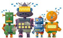 マラソンをする4体のロボット