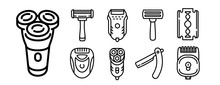 Shaver Icons Set. Outline Set ...