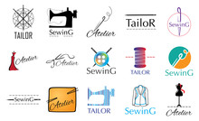 Vector Set Logos For A Sewing Workshop, Tailor