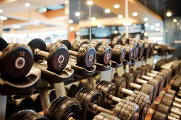 Rows of metal dumbbells on rack for strength training in gym