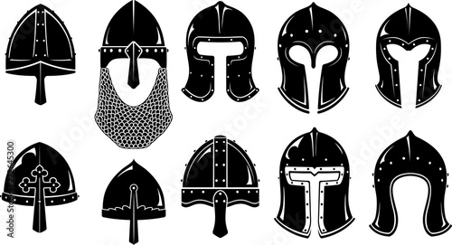 Norman Barbute Medieval Helm Set Canvas Print
