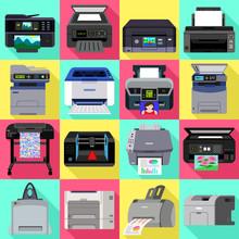 Printer Icons Set. Flat Set Of Printer Vector Icons For Web Design