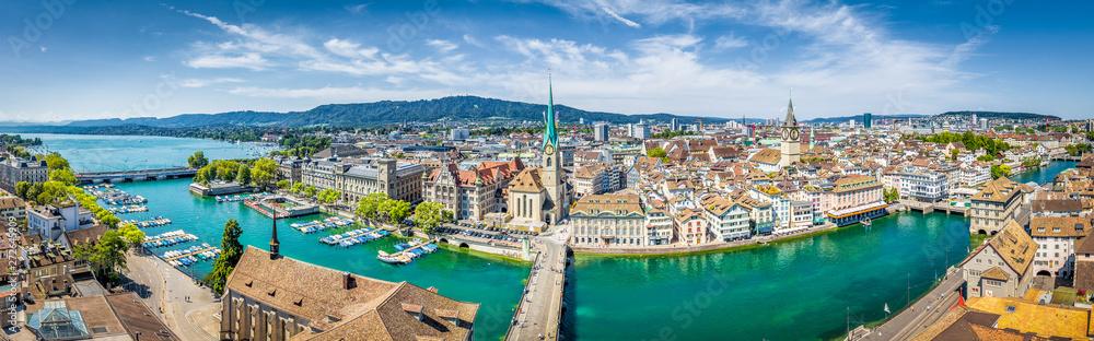 Fototapety, obrazy: Zurich skyline panorama with river Limmat, Switzerland