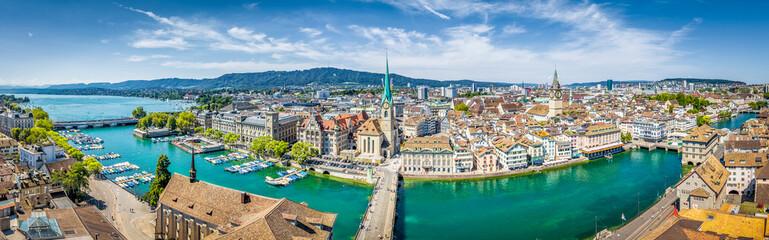 Zurich skyline panorama with river Limmat, Switzerland